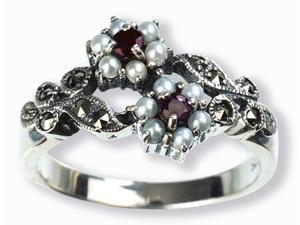 Gemini Silver Natural Seed Pearl Ring, Ruby (Size 8)