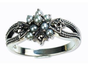 Star Gaze Silver Natural Seed Pearl Ring (Size 8)