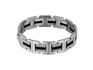 Men's Stainless Steel 15mm Black Accent Spacer Link Bracelet
