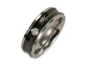 """Stainless Steel Concave Black CZ """"Sweet Agreement"""" 6mm Band Ring Men Size 8"""