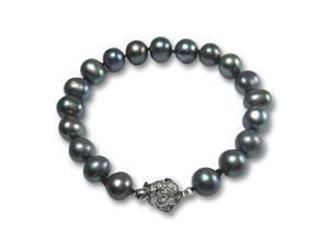 "Enhanced Black 8-9mm AA Cultured Pearl Silver Rose Clasp Bracelet 7"" (L1S3R2)"