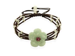 Hand Carved Elegant Flower Garnet Center Jade Beads Adjustable Cord Bracelet