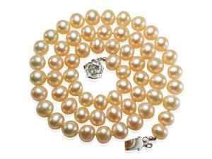 "Peach Pink 6-7mm AAA Cultured Pearl Strand Silver Choker Necklace 16"" (LS1R2)"