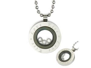 "Floating CZ ""Love Kiss"" Black Medallion Stainless Steel Pendant Necklace 24"""