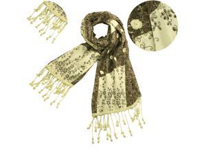 100% Cotton Chinese Vintage Style Small Flowers & Vine Long Scarf - Tan/Cream