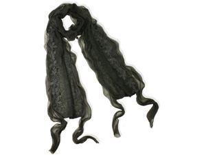 Dahlia Acrylic & Polyester Fashion Carefree Chiffon Flowers Edge Long Scarf - Black