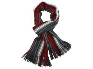 100% Acrylic Colorful Stripes Tassel Ends Knitted Long Scarf - Red