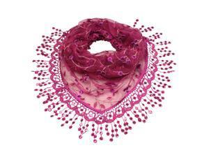 Rayon & Polyamide Handmade Lace Vine Flowers Sequins Triangle Scarf - Magenta