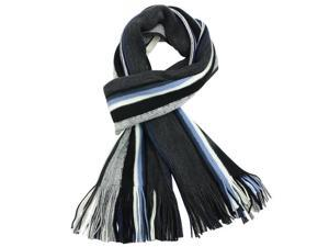 100% Acrylic Colorful Stripes Tassel Ends Knitted Long Scarf - Blue