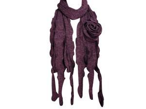 Dahlia 100% Acrylic Fashion Large Flower Ruffle Knitted Tassel Ends Long Scarf - Violet