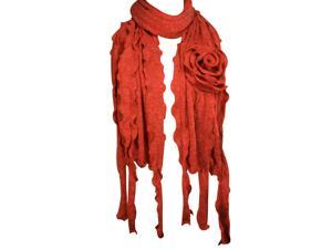 Dahlia 100% Acrylic Fashion Large Flower Ruffle Knitted Tassel Ends Long Scarf - Red