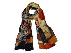 "100% Satin Charmeuse Silk Gustav Klimt's ""Judith II"" Long Scarf Shawl"