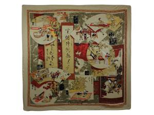 100% Satin Charmeuse Silk Traditional Chinese Painting Collage Square Scarf