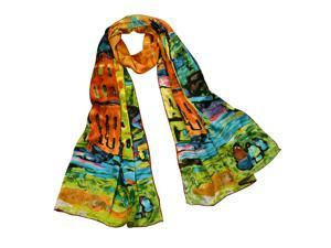 """100% Satin Charmeuse Wassily Kandinsky's """"Houses in Munich"""" Long Scarf Shawl"""