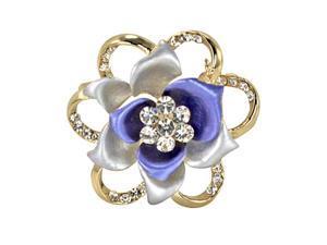 Blooming Rose Flower Crystal Brooch Pin - Blue