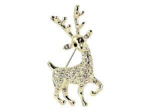 Reindeer Gold-Tone Diamante Brooch Pin