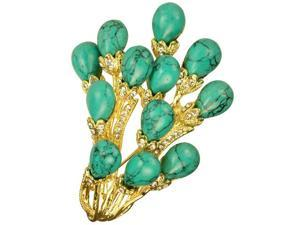 Turquoise Bunch Spray Crystal Gold Tone 2 In 1 Brooch Pin Pendant