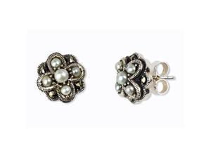 Four Petal Cross-stitch Natural Seed Pearl Silver Stud Earrings