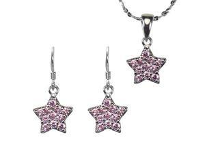 Pink Sapphire Cubic Zirconia Pave Star Silver Pendant Necklace Earrings Set 16""