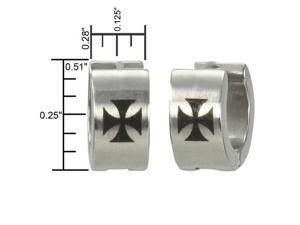 7mm Stainless Steel Iron Cross Huggie Hoop Earrings