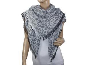 Leopard Lover Viscose Frayed Edges Large Square Scarf Shawl - Gray