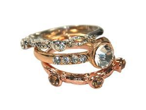 Sparkling Crystal Triple Silver Rose and Gold Tone Stackable Ring Set - Size 8