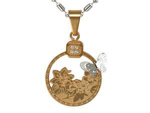 """Wispy Butterfly and Rose Silver Gold Tone Round Stainless Steel Necklace - 24"""""""