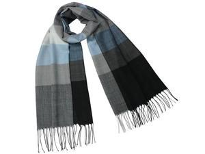 Dahlia Women's 100% Merino Wool Pashmina Scarf - Wide Awning Striped - Blue Gray