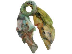 Ancient Village Life Reviving Morning Market Square Scarf Shawl - Yellow