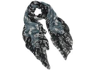 Hibiscus and Cherry Blossom Flowers with Tiled Border Square Scarf Shawl - Black