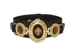 Triple Faceted Antique Style Gemstone PU Leather Fashion Snap Bracelet - Brown