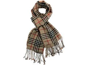 100% Pashmina/Cashmere Classic Plaid Tassel Ends Long Scarf Shawl - Beige