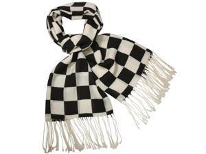 Dahlia Men's Winter Wool Blend Scarf - Buffalo Check - Black