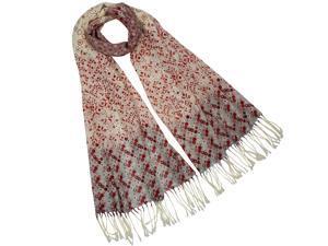 Dahlia Women's 100% Merino Wool Pashmina Scarf - Floret Flower Dot Pattern - Red