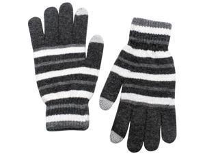 Unisex Striped Wool Blend Touch Screen Gloves - Dark Gray
