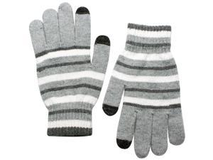 Unisex Striped Wool Blend Touch Screen Gloves - Light Gray
