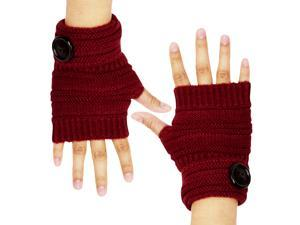 Dahlia Women's Single Button Acrylic Knit Fingerless Gloves - Burgundy