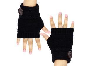 Dahlia Women's Single Button Acrylic Knit Fingerless Gloves - Black