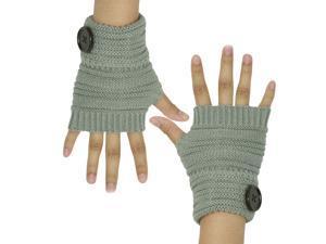 Dahlia Women's Single Button Acrylic Knit Fingerless Gloves - Gray