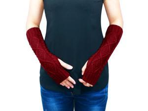 Women's Aran Soft Acrylic Knit Fingerless Arm Warmer Gloves - Burgundy