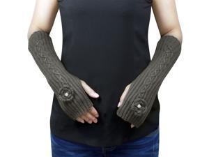 Dahlia Women's Flower Pearl Acrylic Fingerless Arm Warmer Gloves - Gray