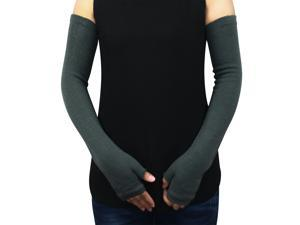Women's Classic Simple Solid Color Acrylic Fingerless Long Arm Warmer Gloves - G