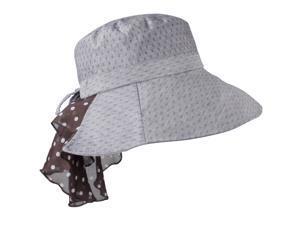 Swiss Dot Soft Edge Polka Dot Neck Protected Foldable Bucket Sun Hat - Lavender