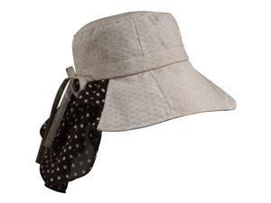 Swiss Dot Soft Edge Polka Dot Neck Protected Foldable Bucket Sun Hat - Tan