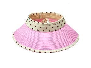 Straw Polka Dot Ribbon Rollable Wide Brim Sun Hat Visor - Pink (Kid Size)