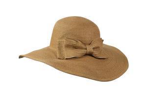 Stylish Dual Layer Wide Bow Foldable Flat Brim Straw Sun Hat - Camel