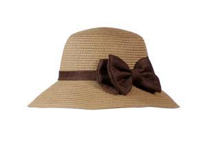 Casual Style Bow Dome Foldable Straw Bucket Sun Hat - Camel