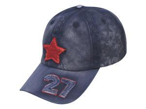 Star Panel Five-Pointed Star Crown Number 27 Cotton Baseball Cap - Jean Blue