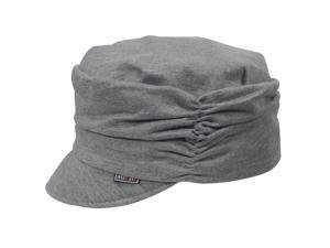 Slouch Crown Design Solid Color Soft Brim Cotton Newsboy Cap Hat - Gray