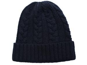 Men's Cable Knit Solid Color Beanie Hat - Navy Blue